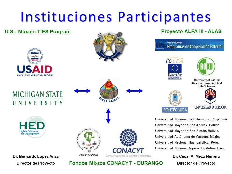 Instituciones Participantes U.S.- Mexico TIES Program Fondos Mixtos CONACYT - DURANGO Proyecto ALFA III - ALAS University of Natural Resources And Applied Life Sciences Dr.