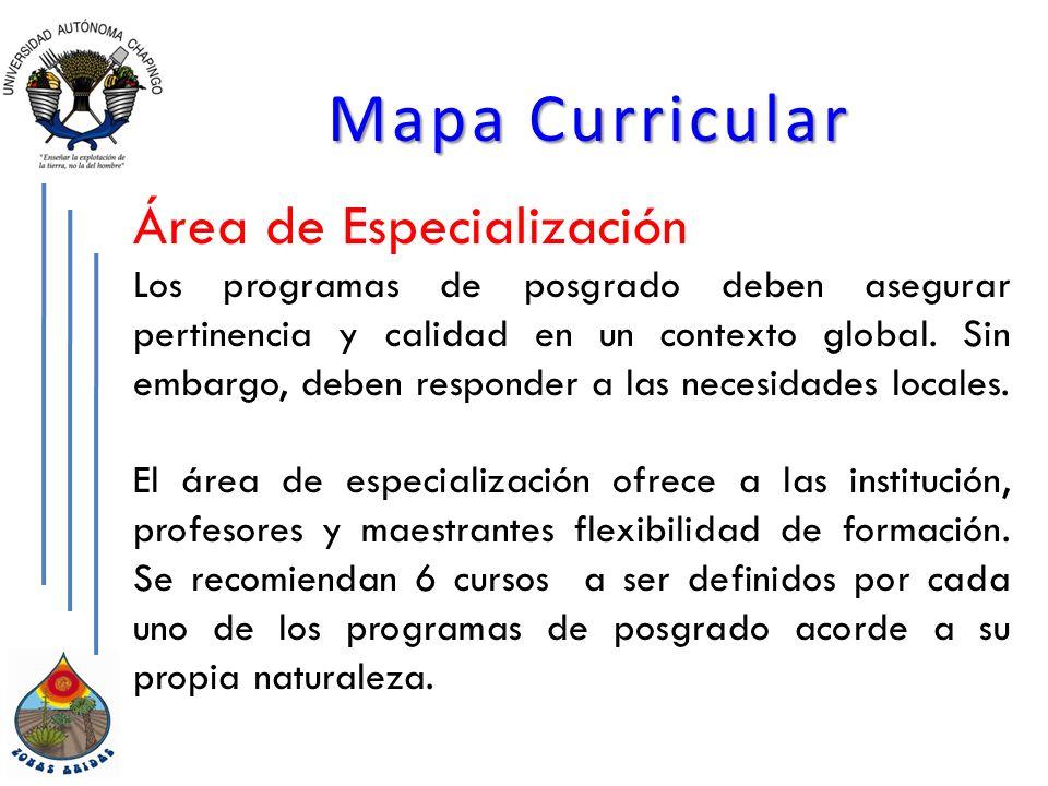 Mapa Curricular Área de Especialización Los programas de posgrado deben asegurar pertinencia y calidad en un contexto global.