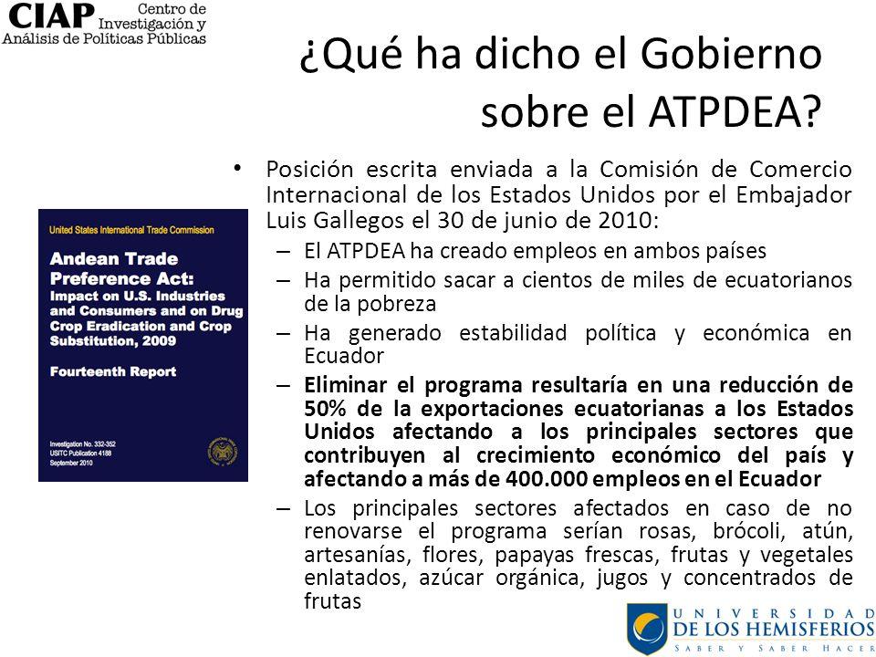 ¿Qué ha dicho el Gobierno sobre el ATPDEA? Posición escrita enviada a la Comisión de Comercio Internacional de los Estados Unidos por el Embajador Lui
