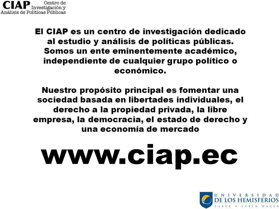 El CIAP es un centro de investigación dedicado al estudio y análisis de políticas públicas. Somos un ente eminentemente académico, independiente de cu