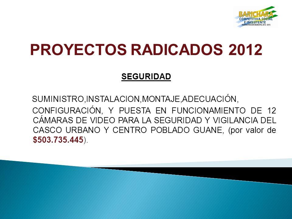 PROYECTOS RADICADOS 2012 SEGURIDAD SUMINISTRO,INSTALACION,MONTAJE,ADECUACIÓN, CONFIGURACIÓN, Y PUESTA EN FUNCIONAMIENTO DE 12 CÁMARAS DE VIDEO PARA LA SEGURIDAD Y VIGILANCIA DEL CASCO URBANO Y CENTRO POBLADO GUANE, (por valor de $503.735.445).