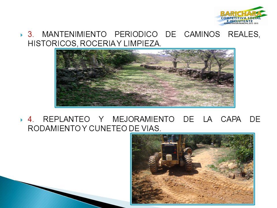 3.MANTENIMIENTO PERIODICO DE CAMINOS REALES, HISTORICOS, ROCERIA Y LIMPIEZA.