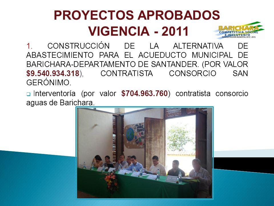 PROYECTOS APROBADOS VIGENCIA - 2011 1.