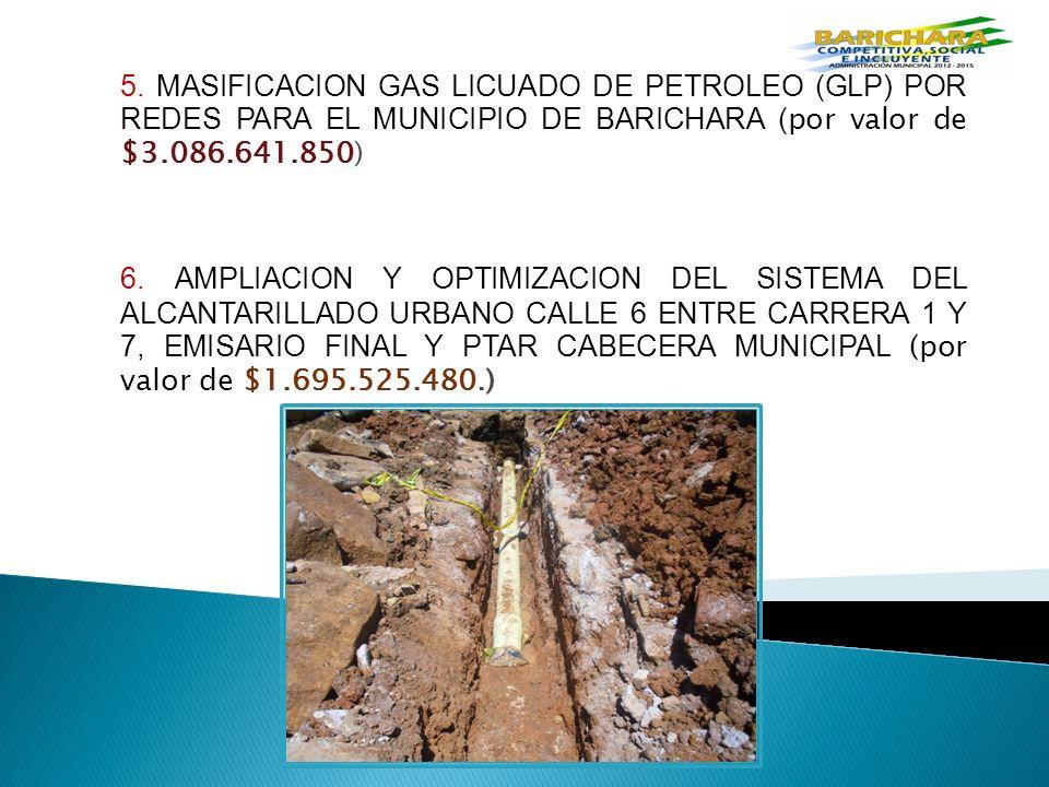 5. MASIFICACION GAS LICUADO DE PETROLEO (GLP) POR REDES PARA EL MUNICIPIO DE BARICHARA ( por valor de $3.086.641.850) 6. AMPLIACION Y OPTIMIZACION DEL