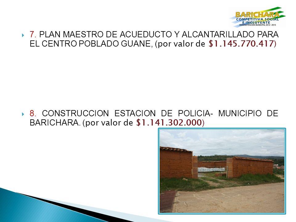7. PLAN MAESTRO DE ACUEDUCTO Y ALCANTARILLADO PARA EL CENTRO POBLADO GUANE, ( por valor de $1.145.770.417) 8. CONSTRUCCION ESTACION DE POLICIA- MUNICI