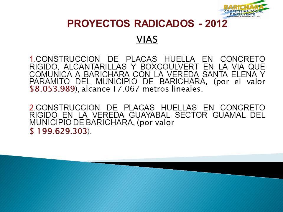 PROYECTOS RADICADOS - 2012 VIAS 1.CONSTRUCCION DE PLACAS HUELLA EN CONCRETO RIGIDO, ALCANTARILLAS Y BOXCOULVERT EN LA VIA QUE COMUNICA A BARICHARA CON LA VEREDA SANTA ELENA Y PARAMITO DEL MUNICIPIO DE BARICHARA, (por el valor $8.053.989), alcance 17.067 metros lineales.