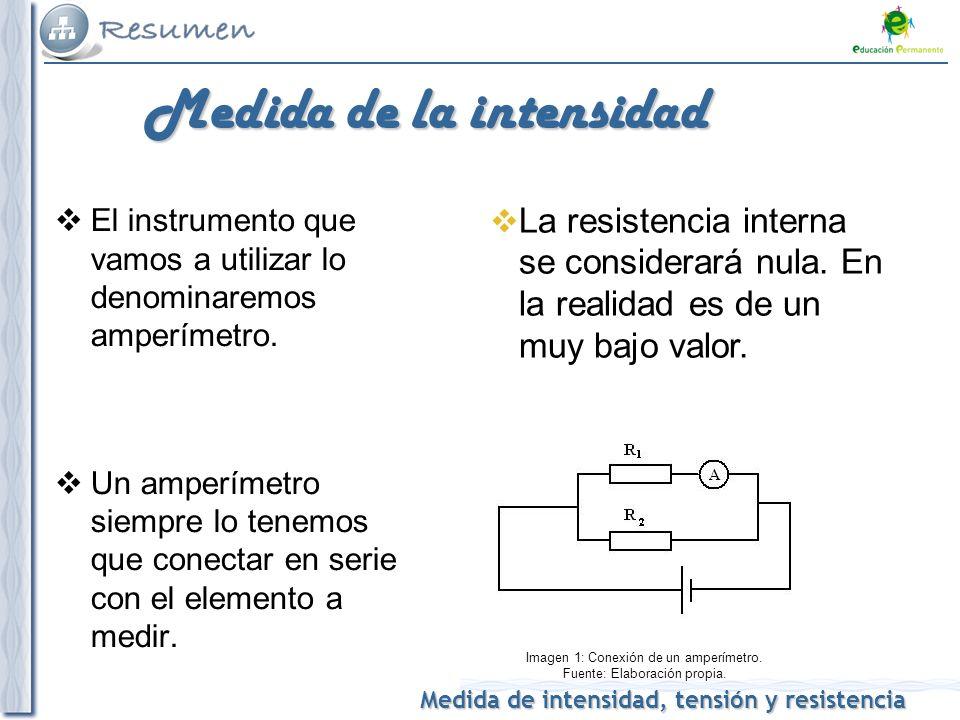 Medida de intensidad, tensión y resistencia Medida de la intensidad El instrumento que vamos a utilizar lo denominaremos amperímetro. Un amperímetro s