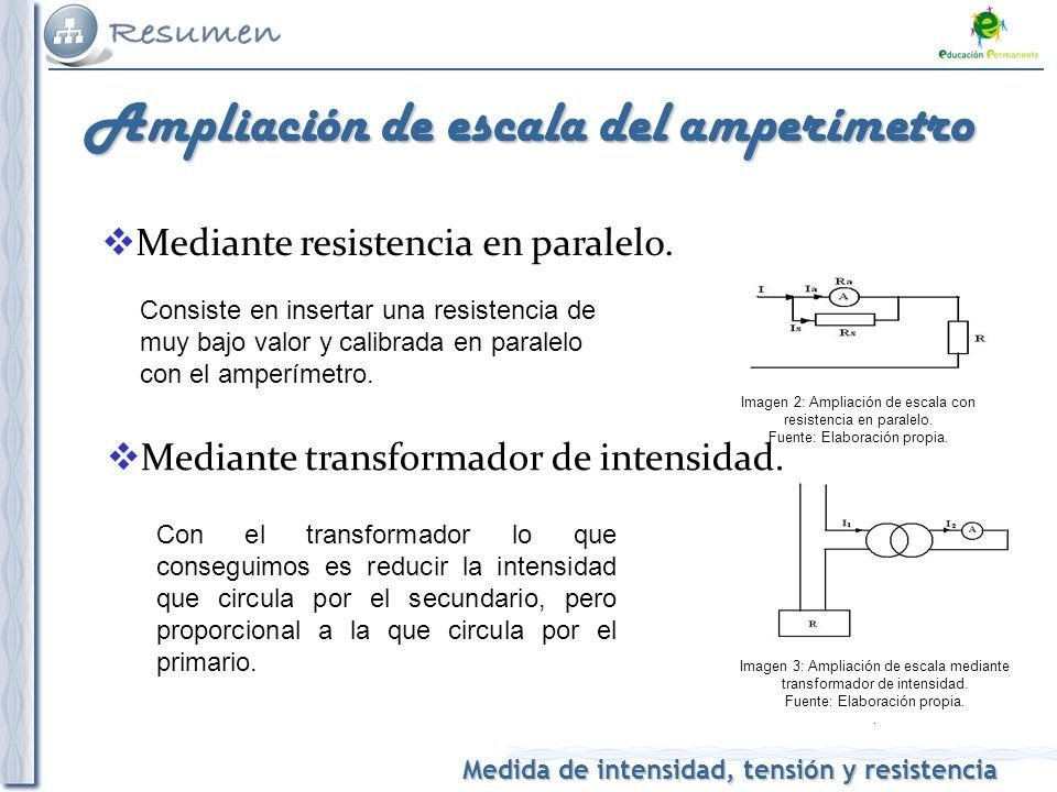 Medida de intensidad, tensión y resistencia Ampliación de escala del amperímetro Mediante resistencia en paralelo. Consiste en insertar una resistenci