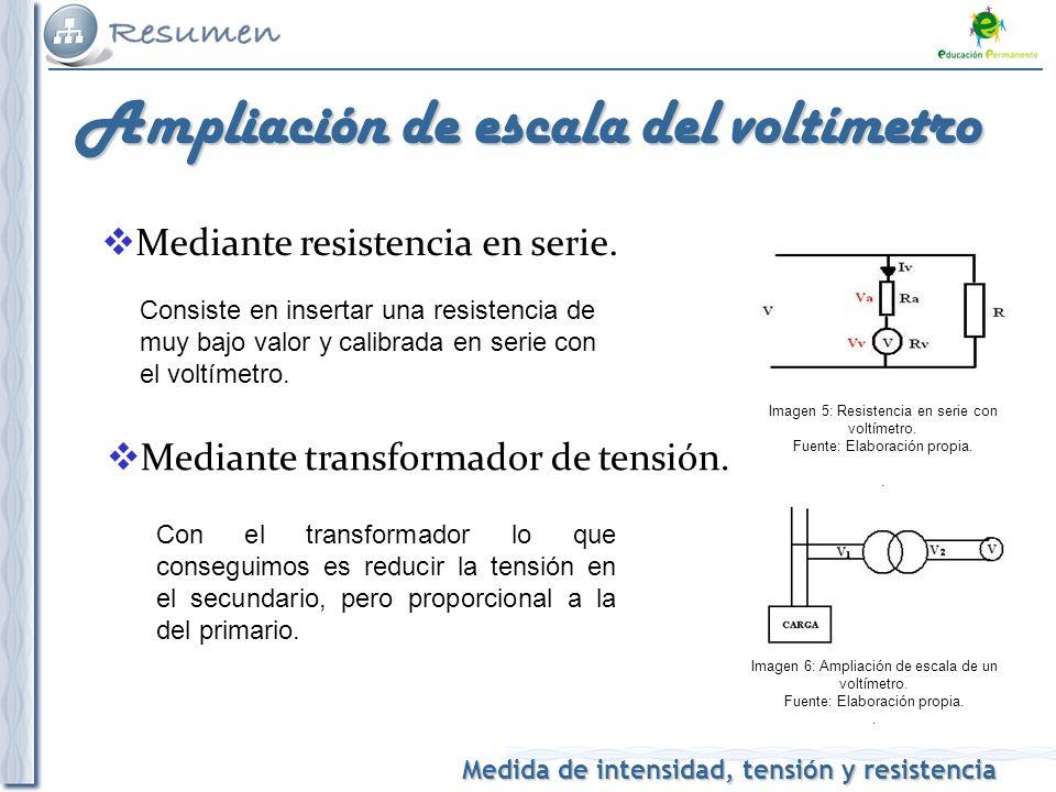 Medida de intensidad, tensión y resistencia Ampliación de escala del voltímetro Mediante resistencia en serie. Consiste en insertar una resistencia de