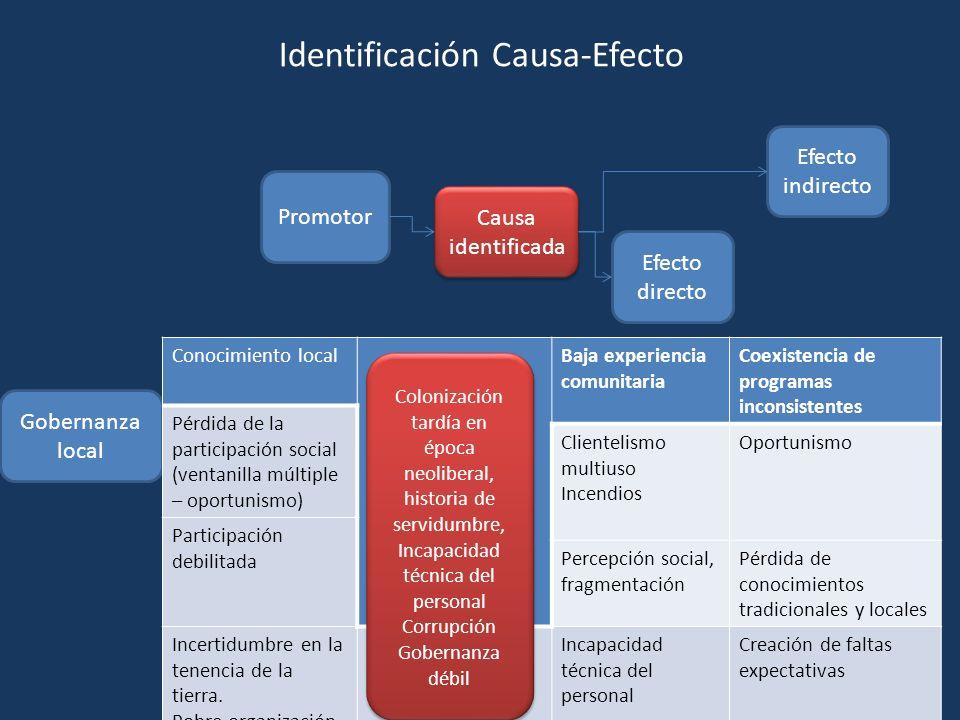 Promotor Causa identificada Efecto directo Efecto indirecto Gobernanza local Conocimiento localBaja experiencia comunitaria Coexistencia de programas