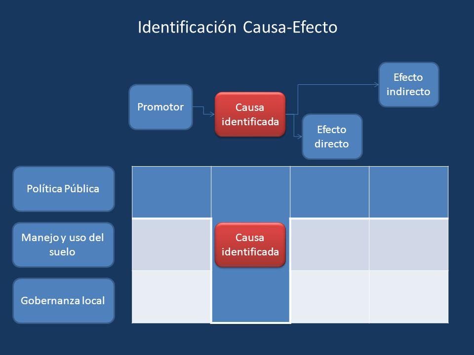 Promotor Causa identificada Efecto directo Efecto indirecto Política Pública Manejo y uso del suelo Gobernanza local Causa identificada Identificación