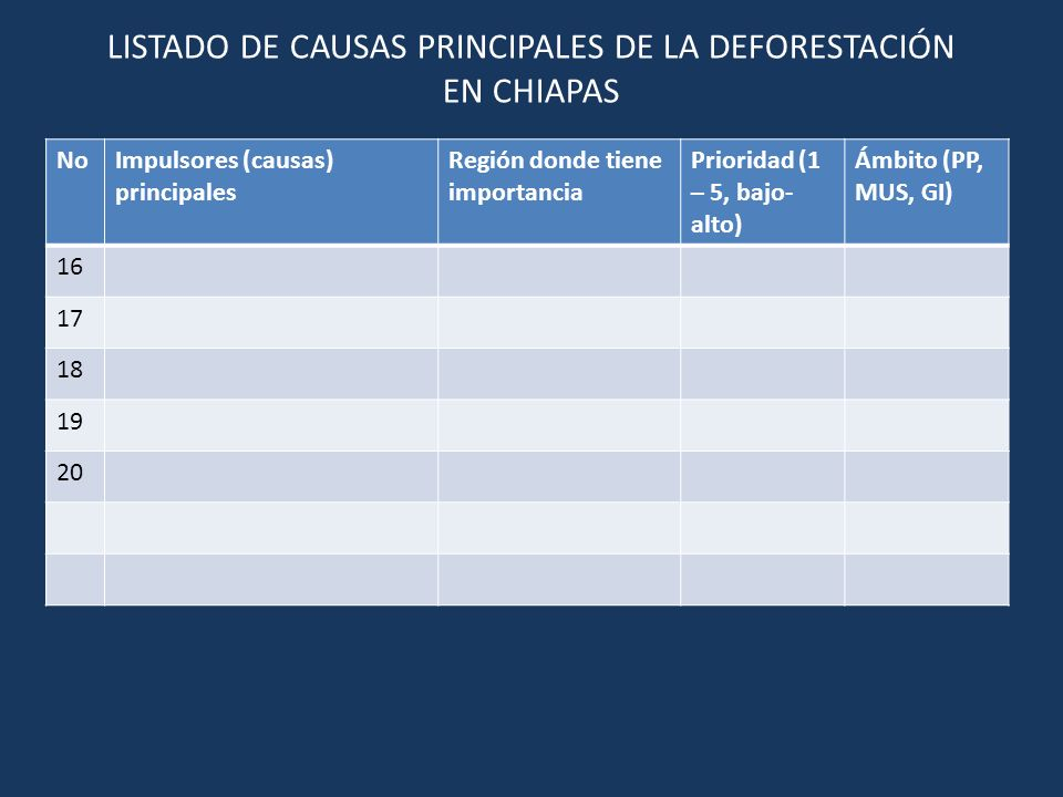 NoCausa principal (Debilidades) FortalezasPuntos e acciónLíneas estratégicas 1 2 3 4 5 Listado de causas principales priorizada de la deforestación por región y ámbito