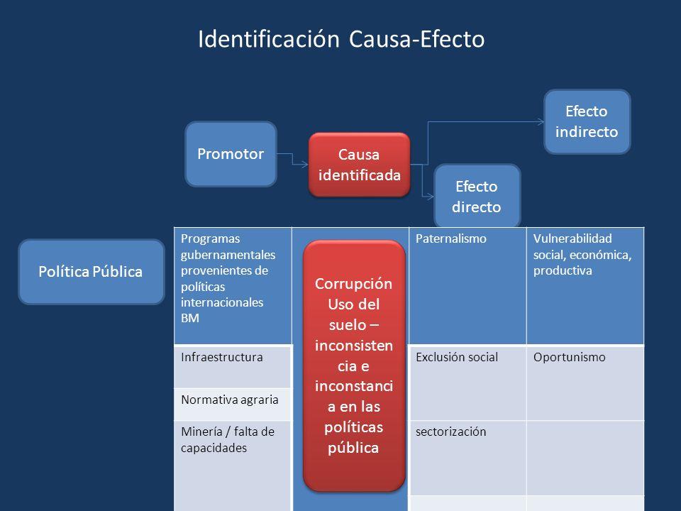 Promotor Causa identificada Efecto directo Efecto indirecto Política Pública Programas gubernamentales provenientes de políticas internacionales BM Pa