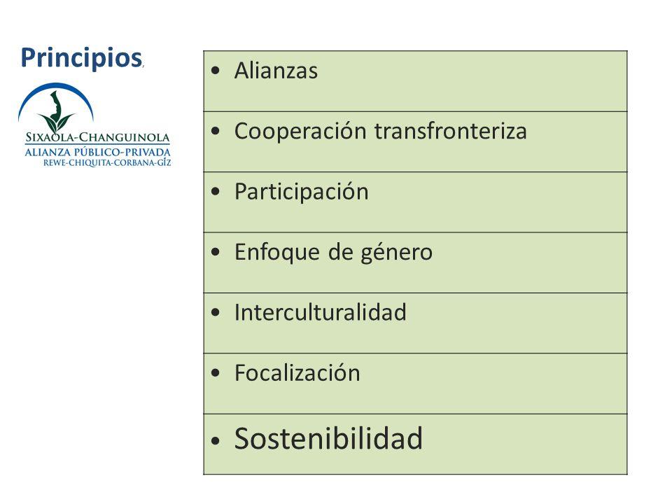 Alianzas Cooperación transfronteriza Participación Enfoque de género Interculturalidad Focalización Sostenibilidad Principios,