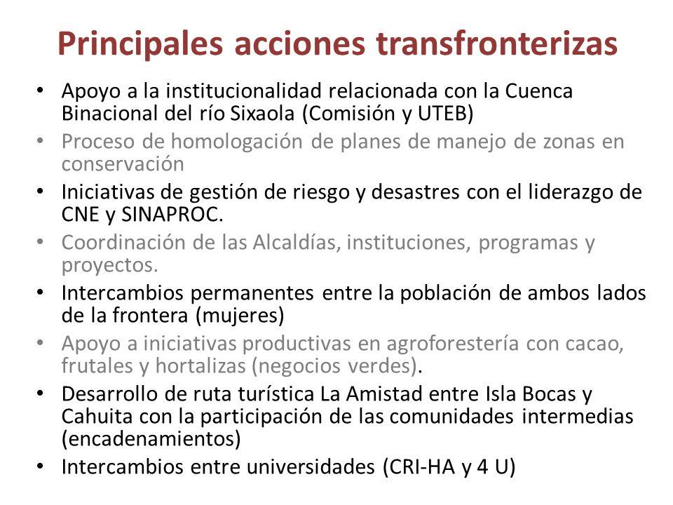 Principales acciones transfronterizas Apoyo a la institucionalidad relacionada con la Cuenca Binacional del río Sixaola (Comisión y UTEB) Proceso de h