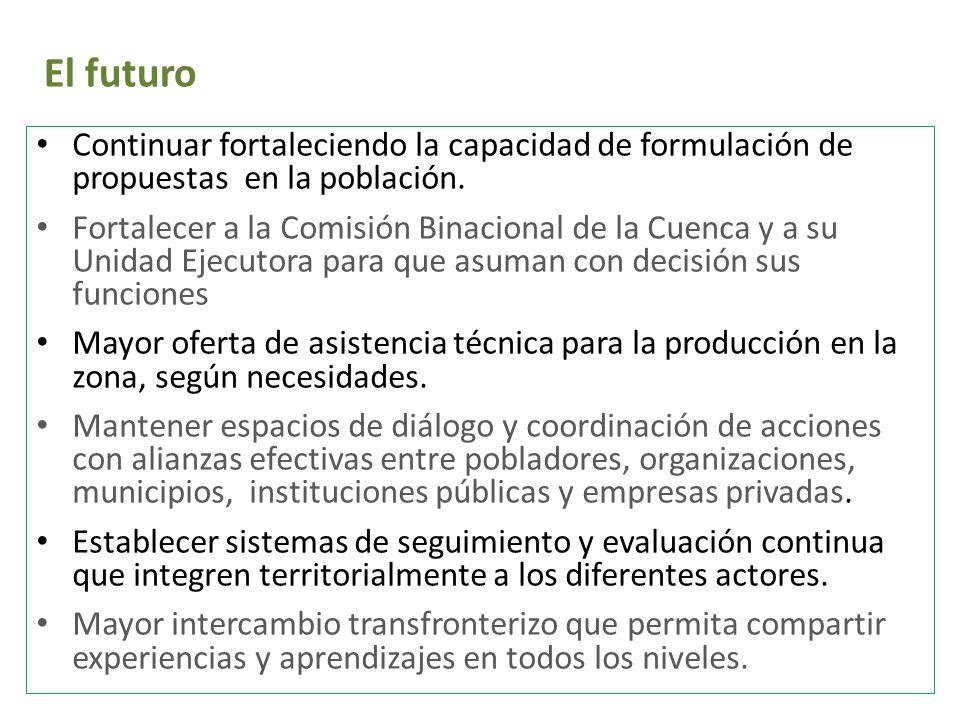 El futuro Continuar fortaleciendo la capacidad de formulación de propuestas en la población. Fortalecer a la Comisión Binacional de la Cuenca y a su U