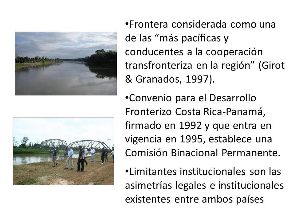 Frontera considerada como una de las más pacícas y conducentes a la cooperación transfronteriza en la región (Girot & Granados, 1997). Convenio para e