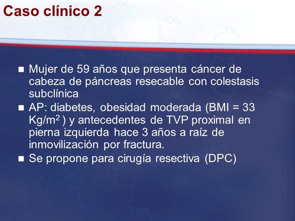 Caso clínico 2 Mujer de 59 años que presenta cáncer de cabeza de páncreas resecable con colestasis subclínica AP: diabetes, obesidad moderada (BMI = 3