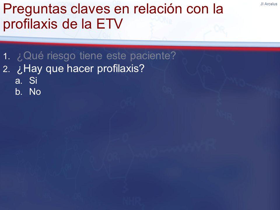 JI Arcelus Preguntas claves en relación con la profilaxis de la ETV 1. ¿Qué riesgo tiene este paciente? 2. ¿Hay que hacer profilaxis? a.Si b.No