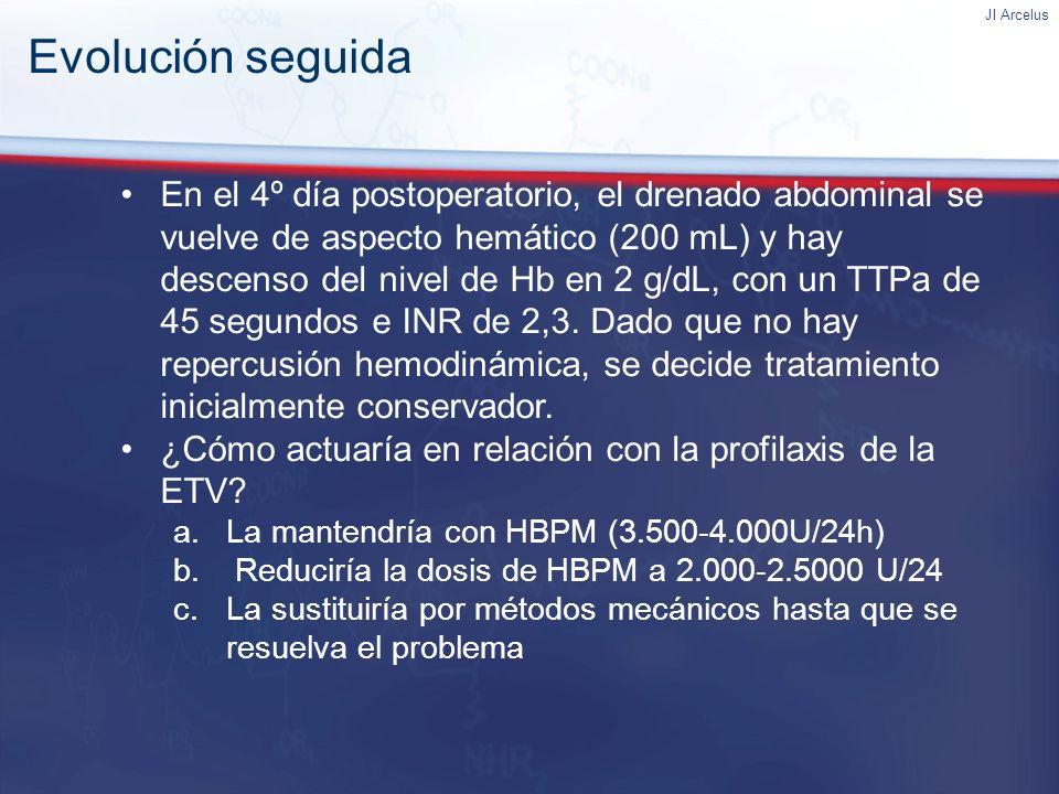 JI Arcelus En el 4º día postoperatorio, el drenado abdominal se vuelve de aspecto hemático (200 mL) y hay descenso del nivel de Hb en 2 g/dL, con un T