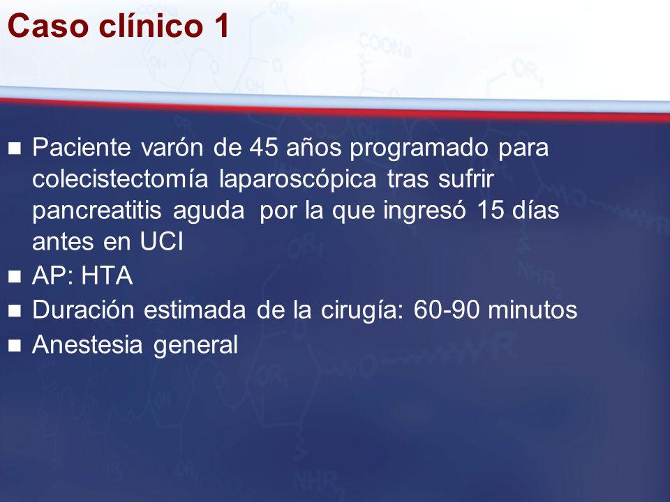 Caso clínico 1 Paciente varón de 45 años programado para colecistectomía laparoscópica tras sufrir pancreatitis aguda por la que ingresó 15 días antes