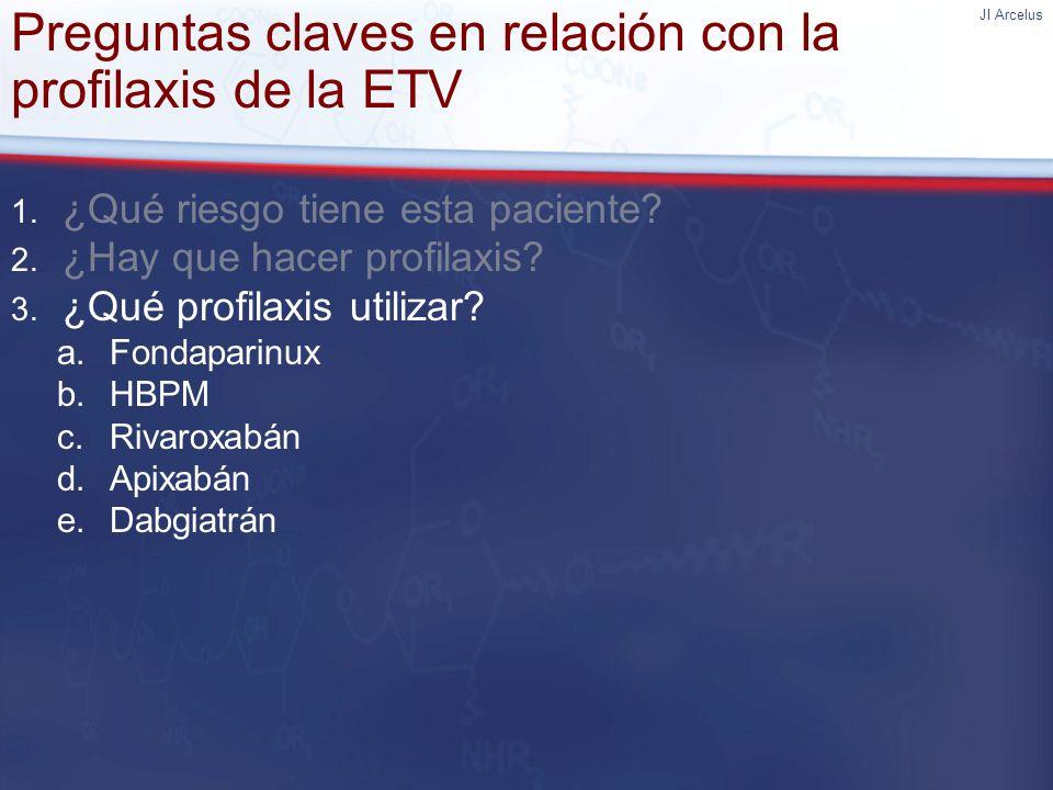 JI Arcelus Preguntas claves en relación con la profilaxis de la ETV 1. ¿Qué riesgo tiene esta paciente? 2. ¿Hay que hacer profilaxis? 3. ¿Qué profilax