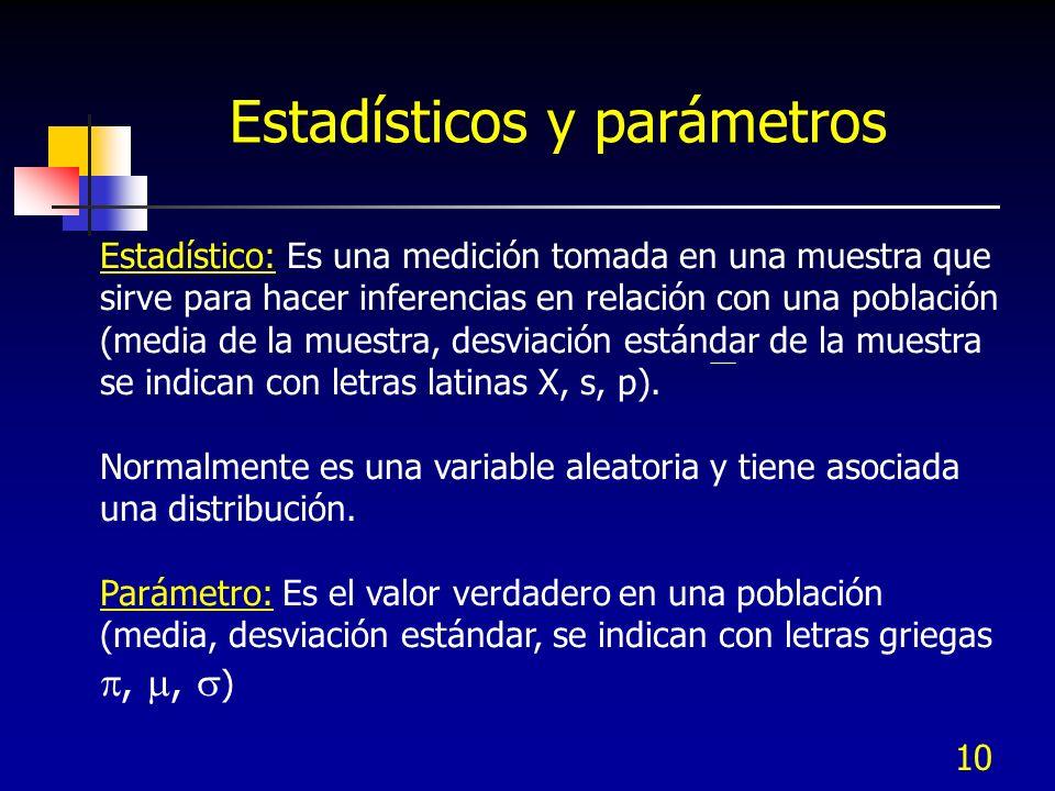 10 Estadísticos y parámetros Estadístico: Es una medición tomada en una muestra que sirve para hacer inferencias en relación con una población (media