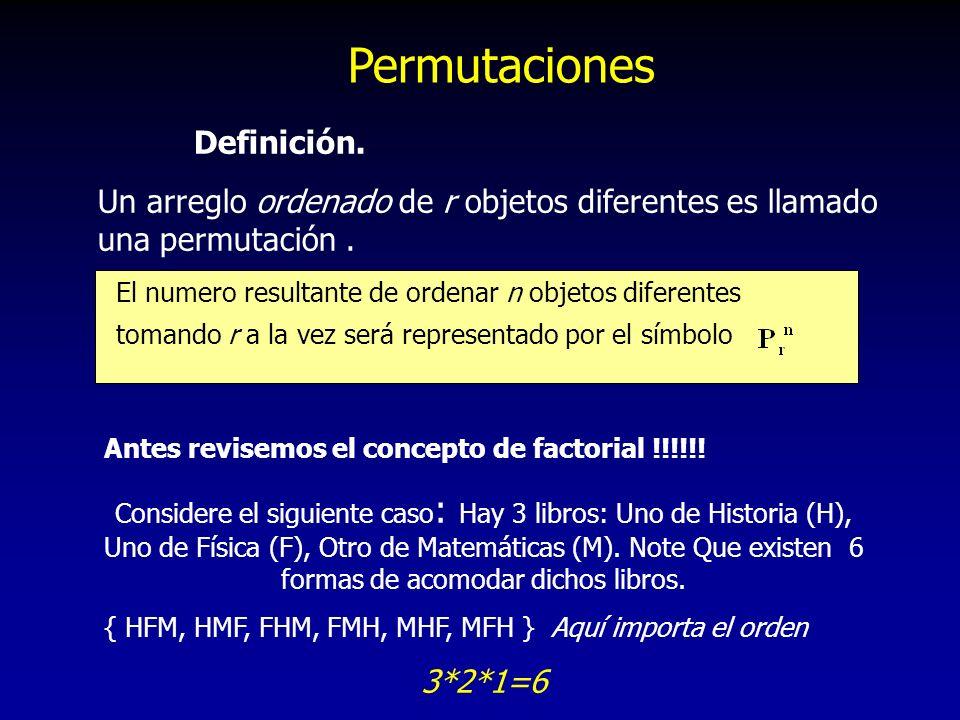 Permutaciones Definición. Un arreglo ordenado de r objetos diferentes es llamado una permutación. El numero resultante de ordenar n objetos diferentes