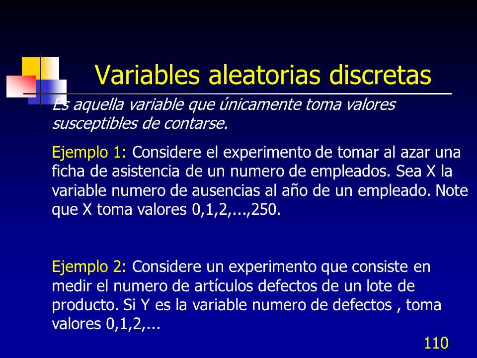 110 Variables aleatorias discretas Es aquella variable que únicamente toma valores susceptibles de contarse. Ejemplo 1: Considere el experimento de to