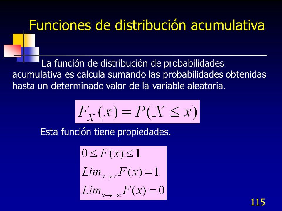 115 Funciones de distribución acumulativa La función de distribución de probabilidades acumulativa es calcula sumando las probabilidades obtenidas has