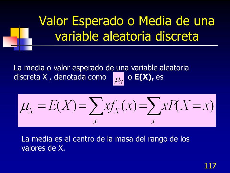 117 Valor Esperado o Media de una variable aleatoria discreta La media o valor esperado de una variable aleatoria discreta X, denotada como o E(X), es