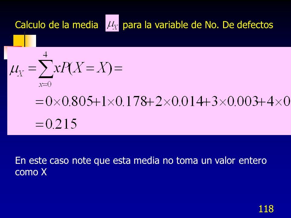118 Calculo de la media para la variable de No. De defectos En este caso note que esta media no toma un valor entero como X