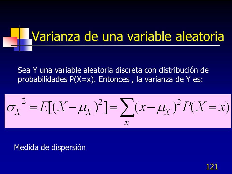 121 Varianza de una variable aleatoria Sea Y una variable aleatoria discreta con distribución de probabilidades P(X=x). Entonces, la varianza de Y es: