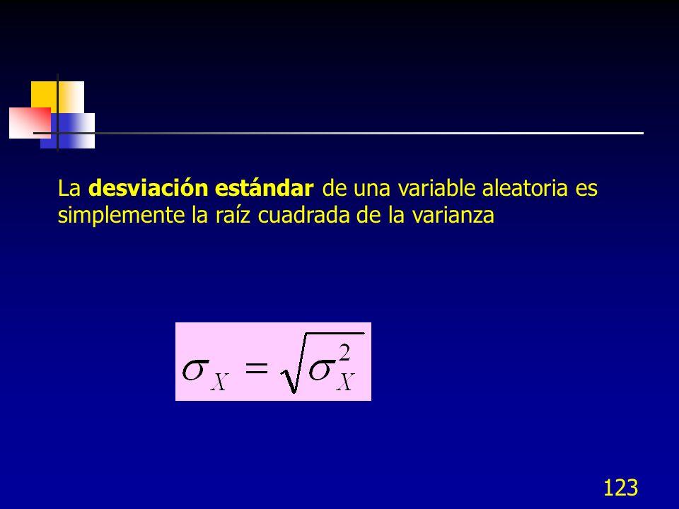 123 La desviación estándar de una variable aleatoria es simplemente la raíz cuadrada de la varianza