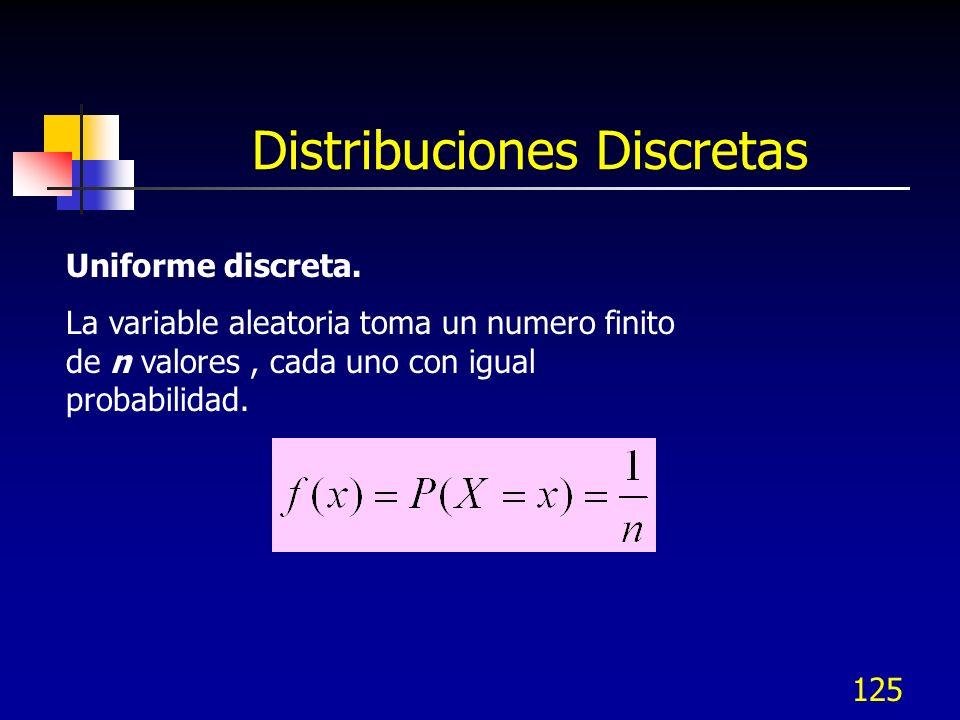 125 Distribuciones Discretas Uniforme discreta. La variable aleatoria toma un numero finito de n valores, cada uno con igual probabilidad.