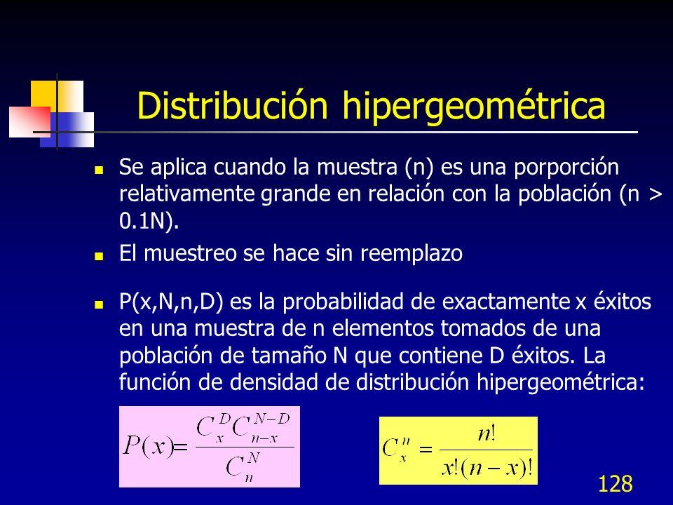 128 Distribución hipergeométrica Se aplica cuando la muestra (n) es una porporción relativamente grande en relación con la población (n > 0.1N). El mu
