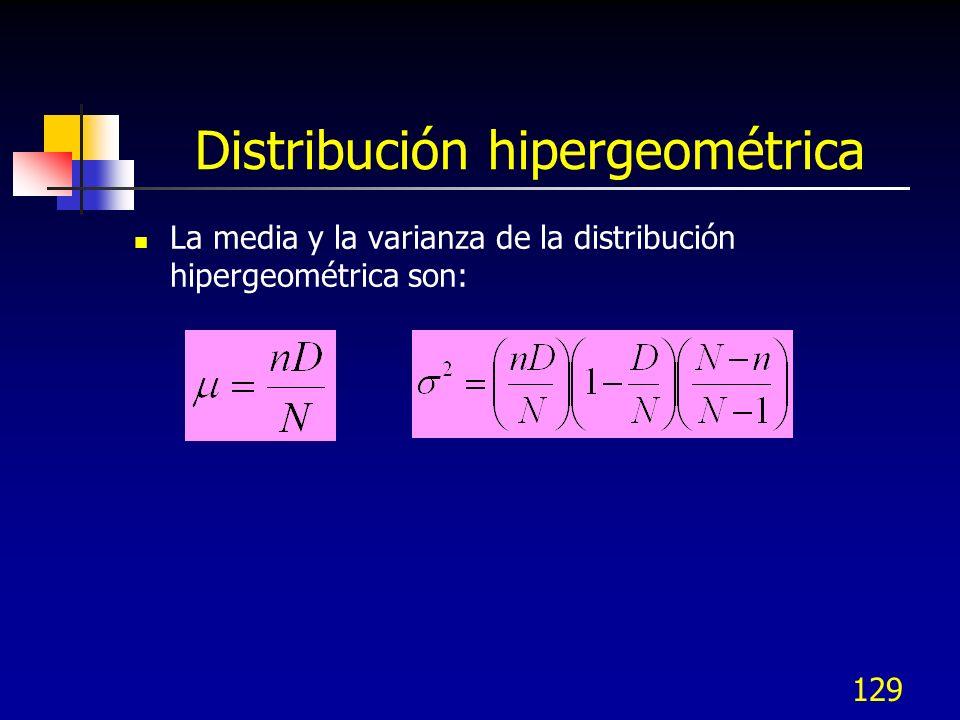 129 Distribución hipergeométrica La media y la varianza de la distribución hipergeométrica son: