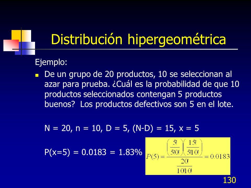 130 Distribución hipergeométrica Ejemplo: De un grupo de 20 productos, 10 se seleccionan al azar para prueba. ¿Cuál es la probabilidad de que 10 produ