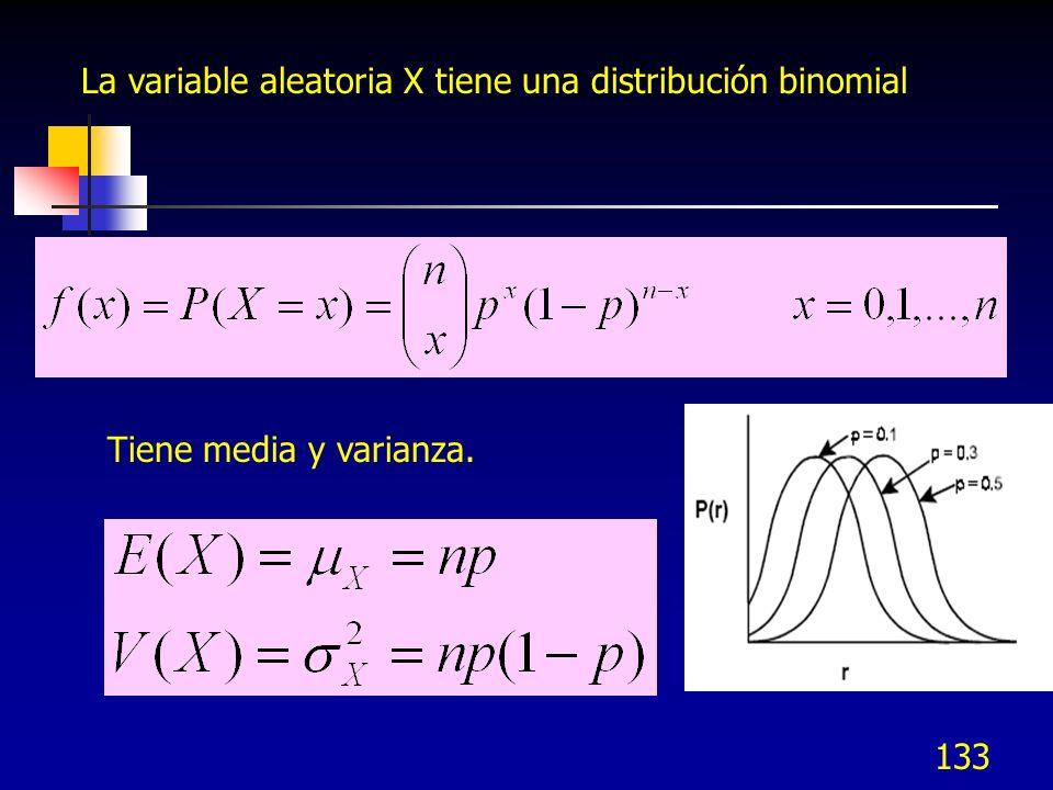 133 La variable aleatoria X tiene una distribución binomial Tiene media y varianza.