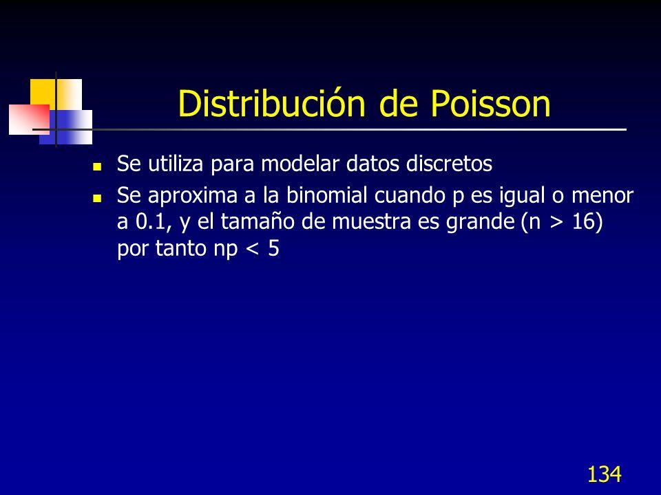 134 Distribución de Poisson Se utiliza para modelar datos discretos Se aproxima a la binomial cuando p es igual o menor a 0.1, y el tamaño de muestra