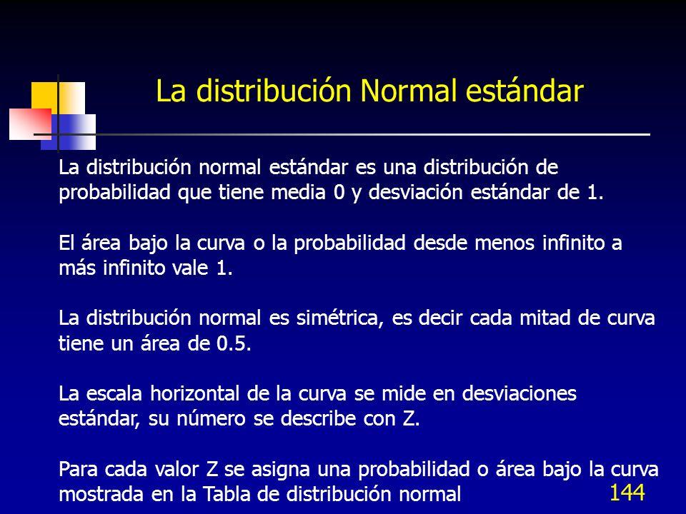 144 La distribución Normal estándar La distribución normal estándar es una distribución de probabilidad que tiene media 0 y desviación estándar de 1.