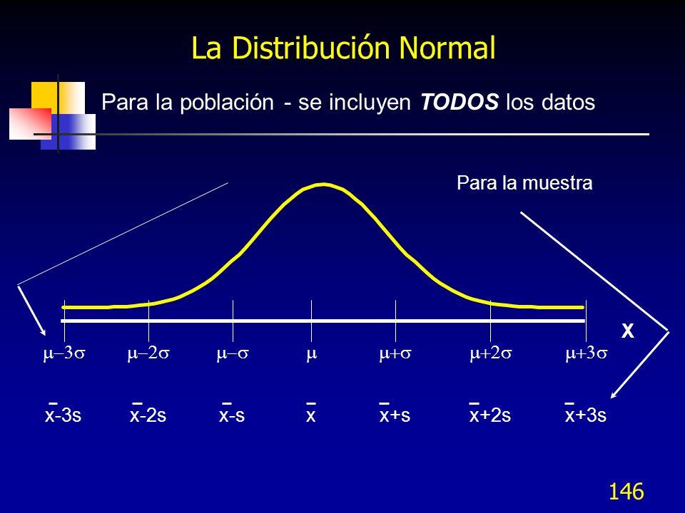 146 xx+sx+2sx+3sx-sx-2sx-3s X Para la población - se incluyen TODOS los datos Para la muestra La Distribución Normal