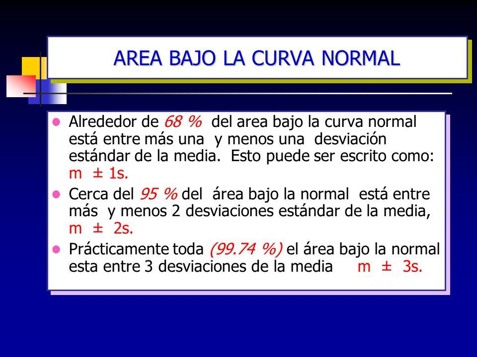 Alrededor de 68 % del area bajo la curva normal está entre más una y menos una desviación estándar de la media. Esto puede ser escrito como: m ± 1s. C