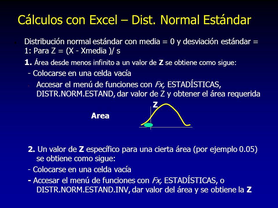 l Distribución normal estándar con media = 0 y desviación estándar = 1: Para Z = (X - Xmedia )/ s 1. Área desde menos infinito a un valor de Z se obti