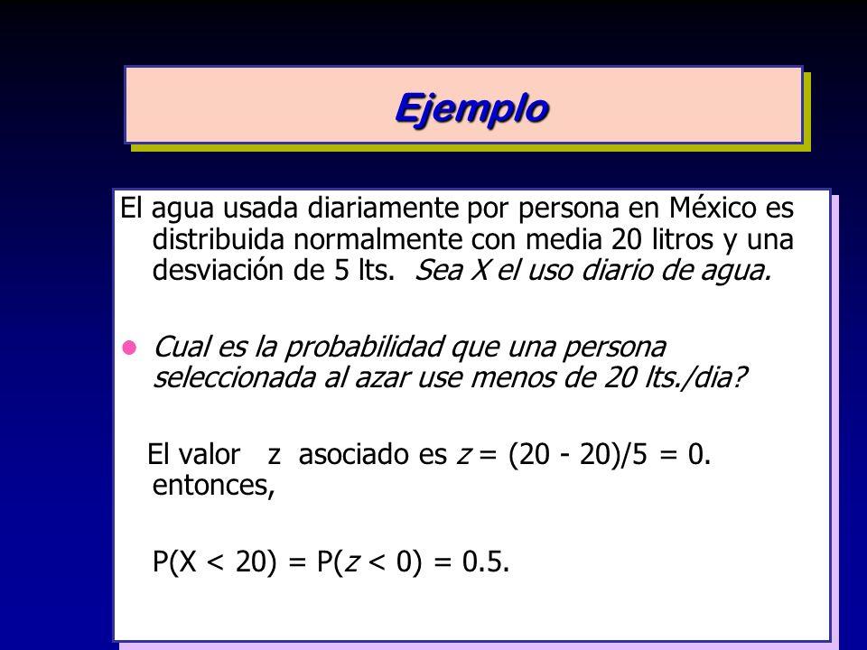 El agua usada diariamente por persona en México es distribuida normalmente con media 20 litros y una desviación de 5 lts. Sea X el uso diario de agua.