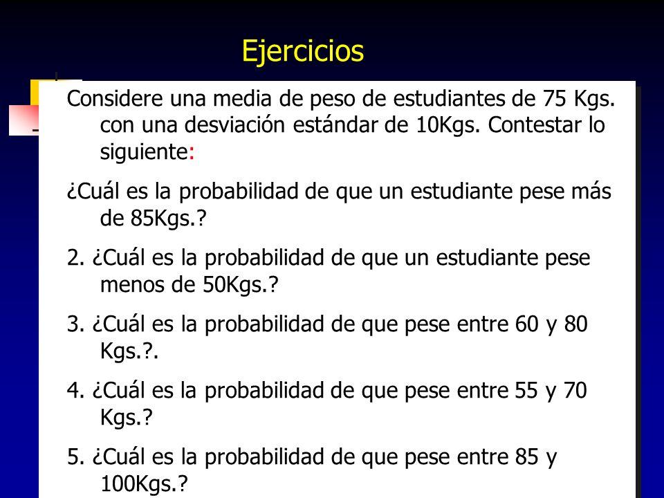 169 Considere una media de peso de estudiantes de 75 Kgs. con una desviación estándar de 10Kgs. Contestar lo siguiente: ¿Cuál es la probabilidad de qu