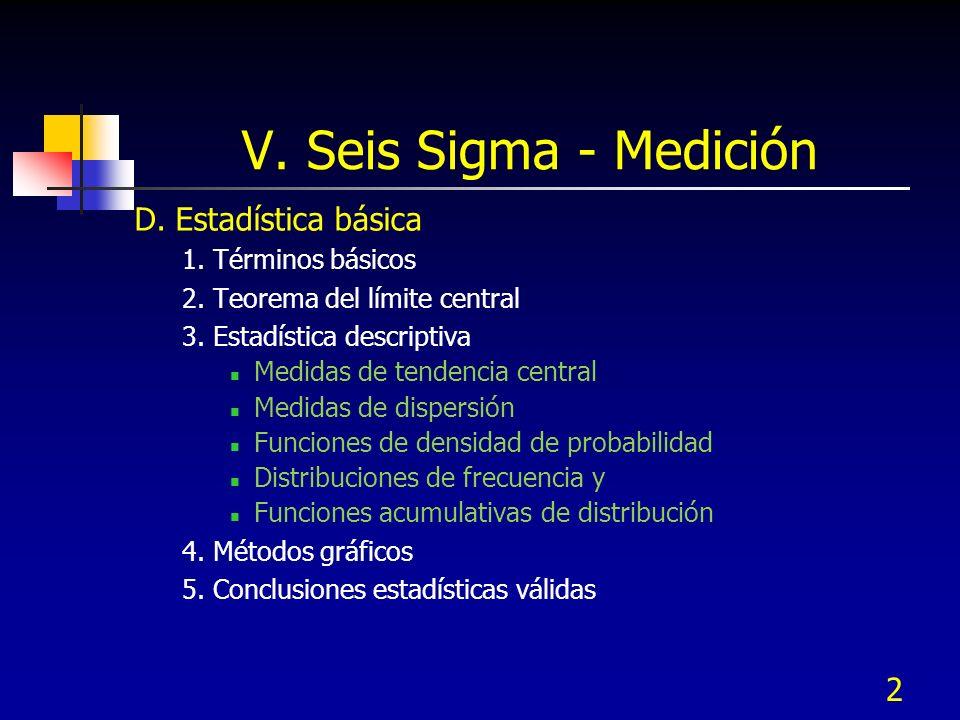 2 V. Seis Sigma - Medición D. Estadística básica 1. Términos básicos 2. Teorema del límite central 3. Estadística descriptiva Medidas de tendencia cen
