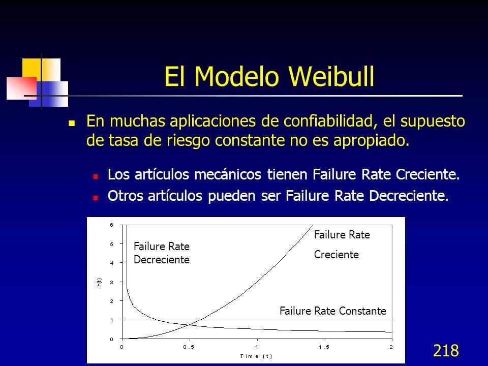 218 El Modelo Weibull En muchas aplicaciones de confiabilidad, el supuesto de tasa de riesgo constante no es apropiado. Los artículos mecánicos tienen