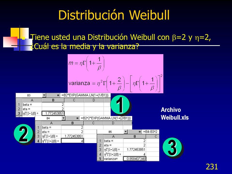 231 Distribución Weibull Tiene usted una Distribución Weibull con =2 y =2, ¿Cuál es la media y la varianza? 11 22 33 Archivo Weibull.xls