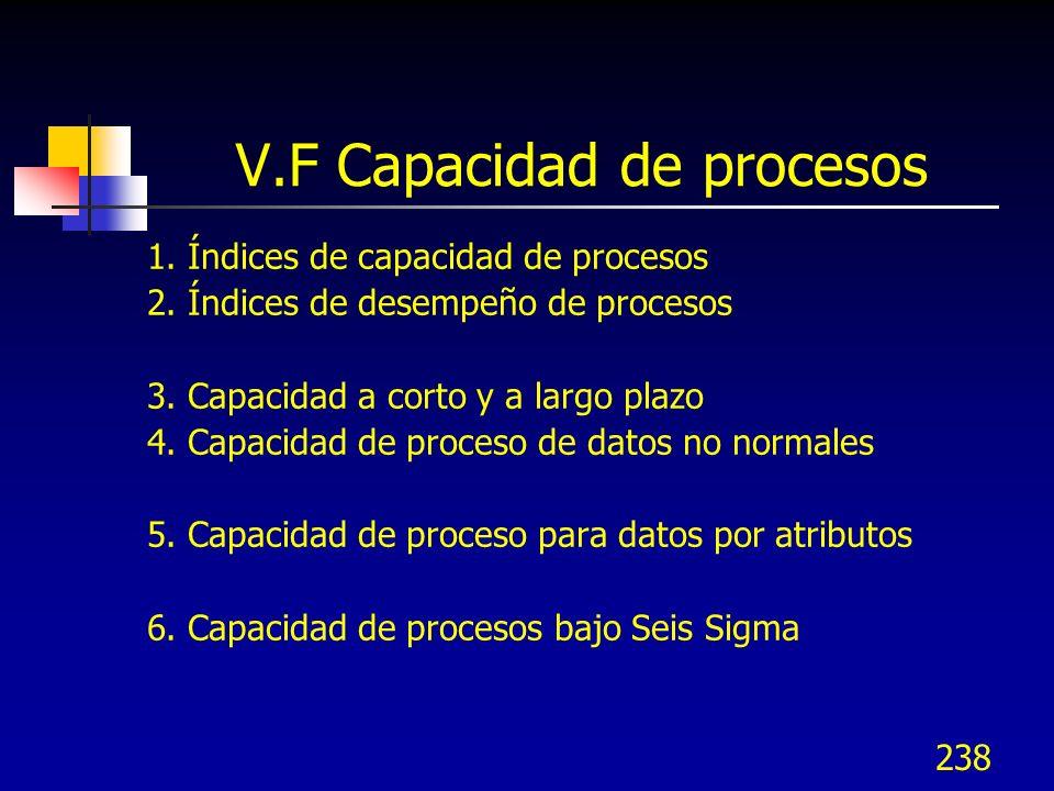 238 V.F Capacidad de procesos 1. Índices de capacidad de procesos 2. Índices de desempeño de procesos 3. Capacidad a corto y a largo plazo 4. Capacida